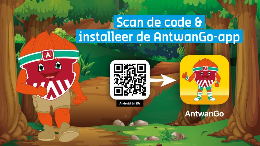 Scan de QR-code in het midden van deze afbeelding en installeer de AntwanGo-app
