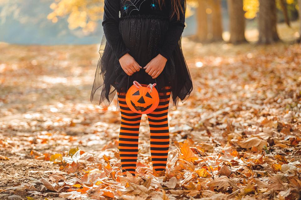 kind met halloweenmandje in het bos