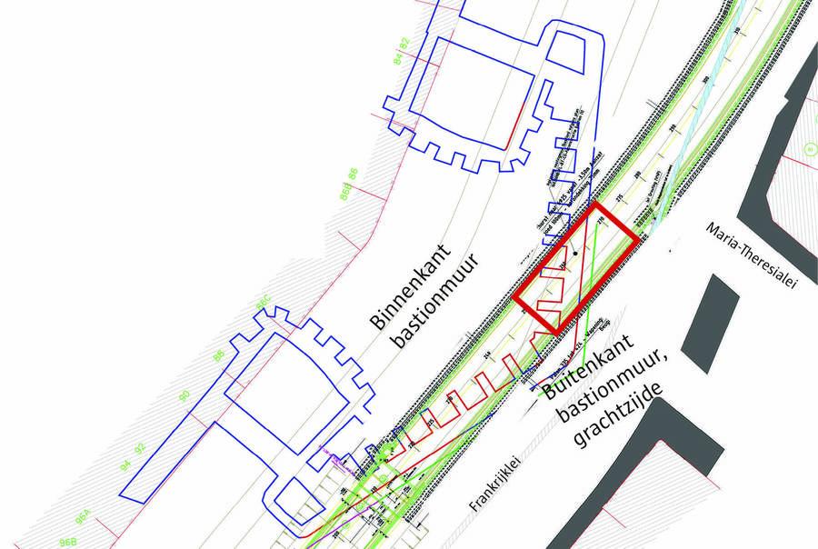 Overzichtsplan van de archeologische opgravingen aan de bastionmuur.