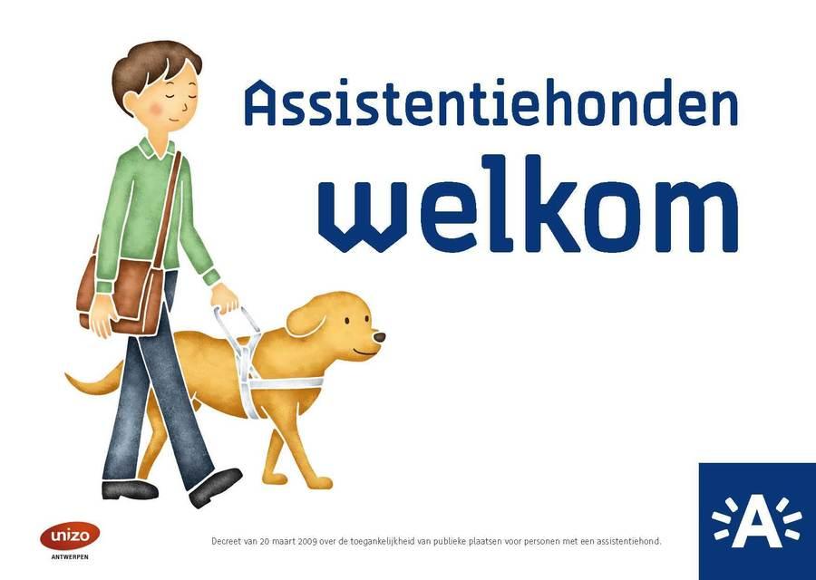 Het ontwerp van de sticker: een illustratie van een man met een assistentiehond.