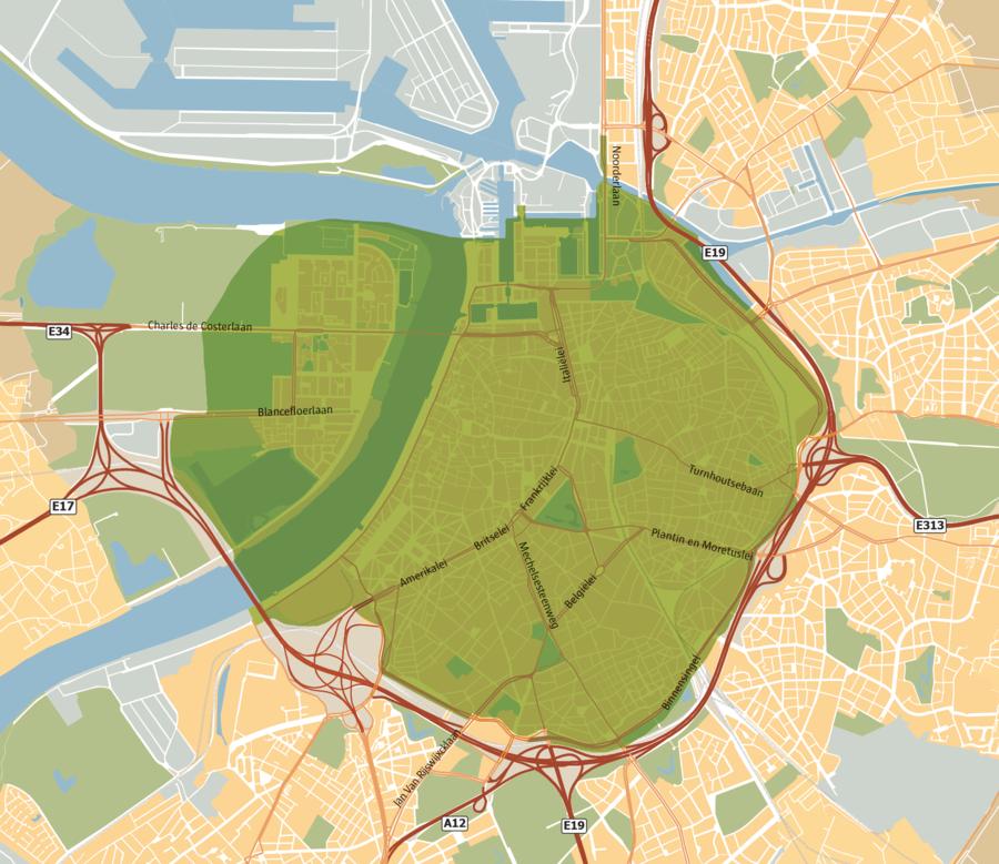 Kaart met aanduiding van het gebied van de lage-emissiezone