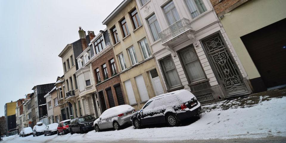 sneeuw in de Congresstraat