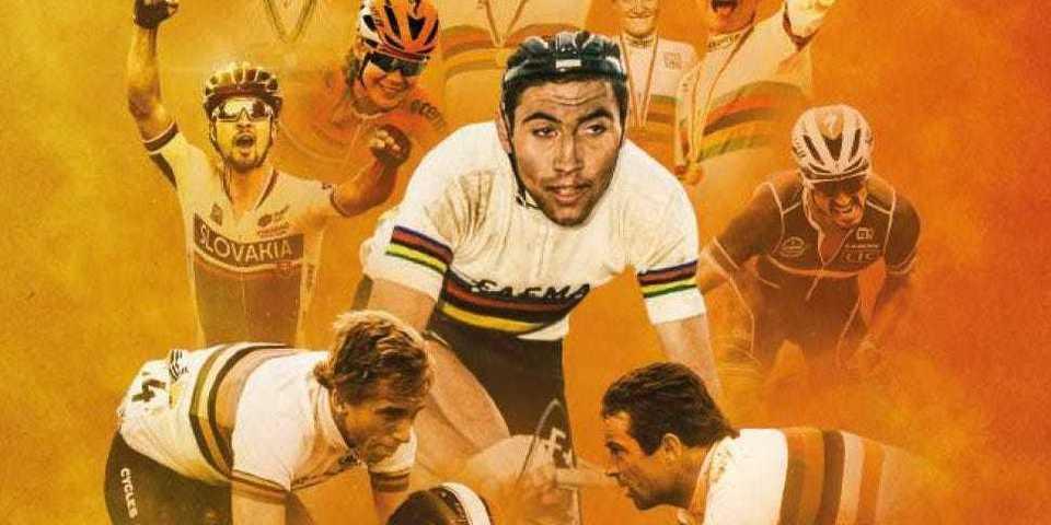 Afbeelding met verschillende wereldkampioenen in het wielrennen