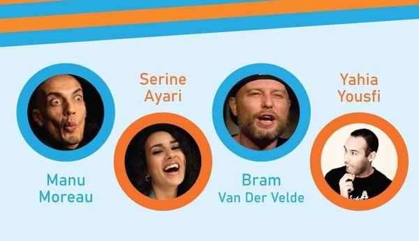 Foto van comedians en hun namen