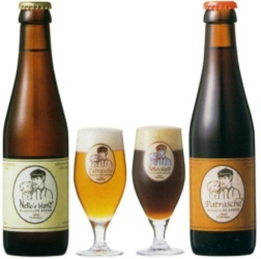 Nello's blond en Patrasche donker bier met glazen