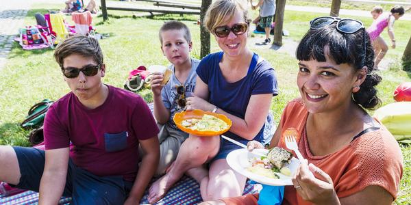 Enkele Antwerpenaars genieten samen van een picknick.