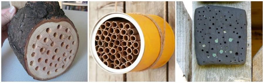 De verschillende soorten bijenhuisjes: in een houtblokje, met holle stengels en met leem