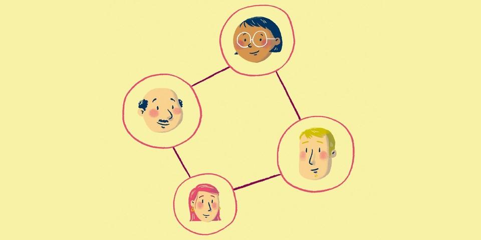 Een illustratie van vier mensen die met elkaar in verbinding staan.