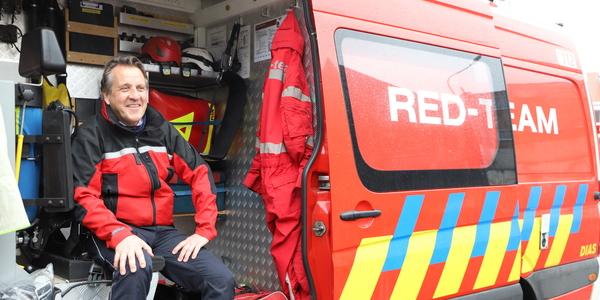 Korporaal Ernst Jansen op het RED-voertuig