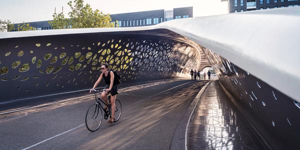fietser op de Parkbrug aan Park Spoor Noord