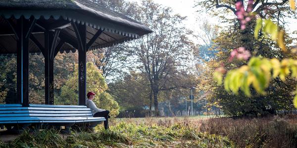 Man geniet van de rust in een park