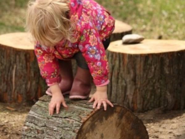 Meisje balanceert op boomschijf