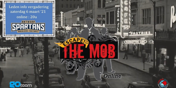 aankondiging teambuilding escape the mob met foto van mafia op achtergrond