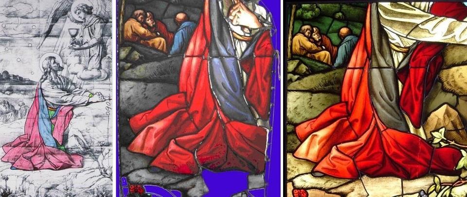 Protestantse erk Oost: de ontwerptekening en het glas-in-loodraam voor en na een restauratie van studenten van de bacheloropleiding Conservatie & Restauratie. Foto's Dick Wursten en Maud Ibanez