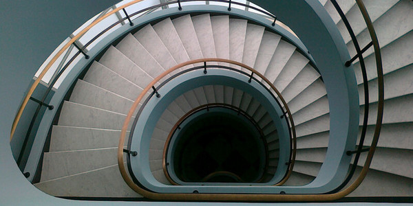 de trappen van het gebouw Den Bell