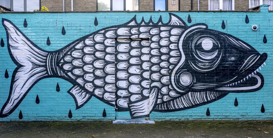 Graffitiwerk van een vis op de gevel van een garagemuur