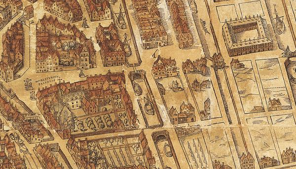Detail uit de kaart van Bononiensis. Het Falcontinnenklooster staat onderaan links, het Falconplein erboven en het Hansahuis rechts boven. (Op de plaats van het Hansahuis staat vandaag het MAS.)