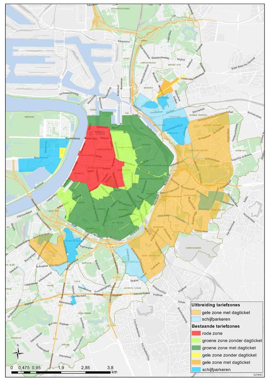 Kaart met aanduiding nieuwe zones