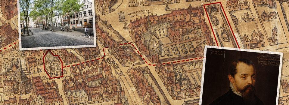 Kaart met aanduidingen van locaties waar de invloed van Gilbert Van Schoonbeke zeer groot was.