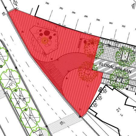 Roodgekleurd deel op kaart geeft aan welk deel nu nog niet uitgevoerd wordt: Floraliënlaan 290-298
