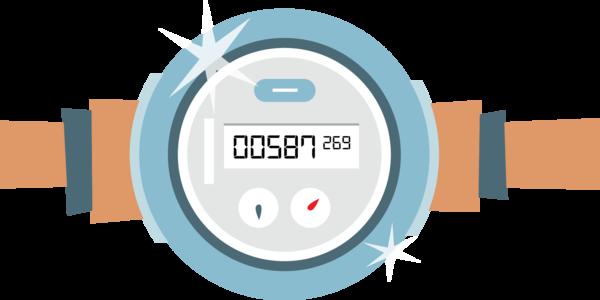 Een grafische voorstelling van de nieuwe digitale watermeter