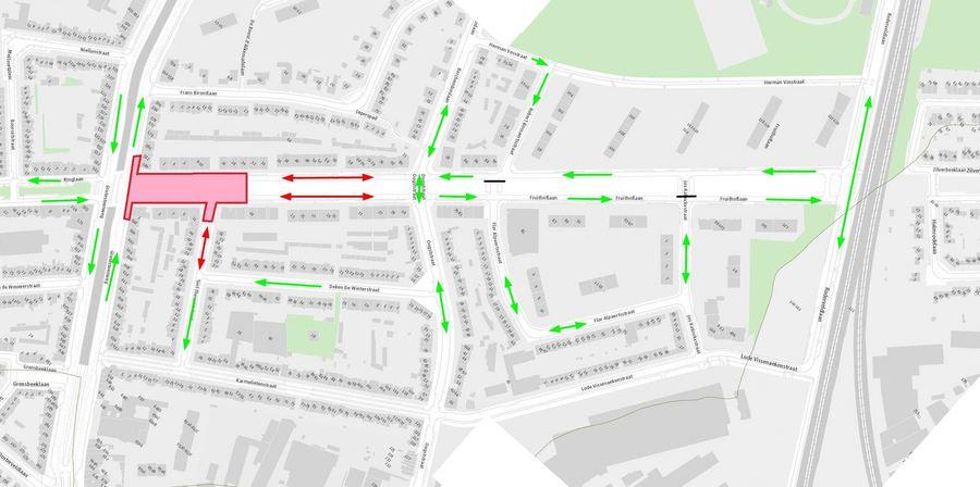 De rode pijlen duiden aan waar plaatselijk verkeer tijdelijk in twee richtingen mag rijden. Let ook steeds op de verkeerssignalisatie in de straat.