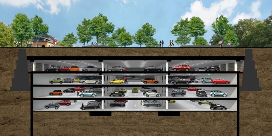Doorsnede van de ondergrondse parkings tussen de oude dokranden.