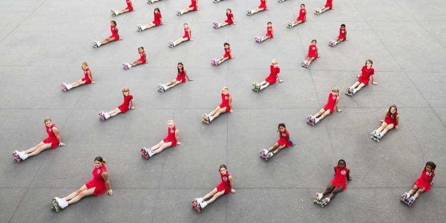 Foto van rolschaatsgroep 'artistic wheels'
