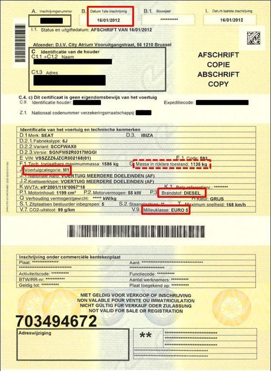 Voorbeeld van inschrijvingsbewijs voertuigen