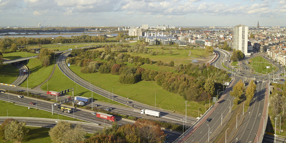 Zicht op de Ring en het zuiden van Antwerpen
