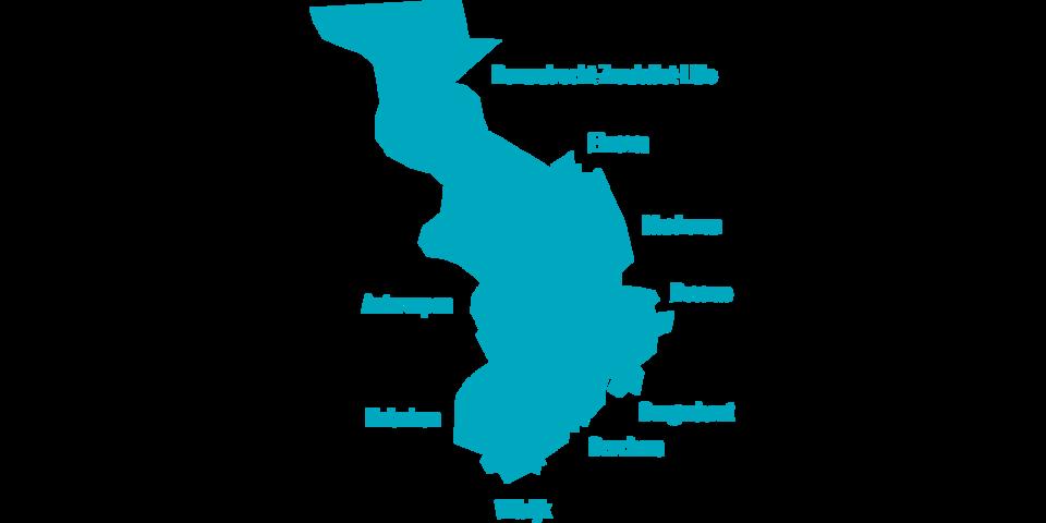de 9 districten van de stad Antwerpen