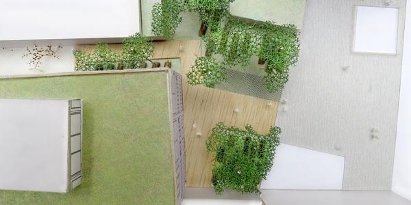 Maquette van de nieuwe padenstructuur voorplein EcoHuis, bovenaanzicht