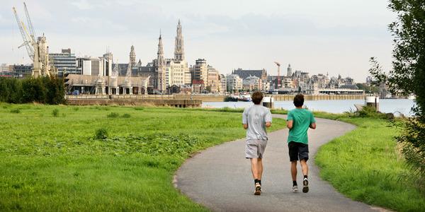 Twee joggers langs de Schelde
