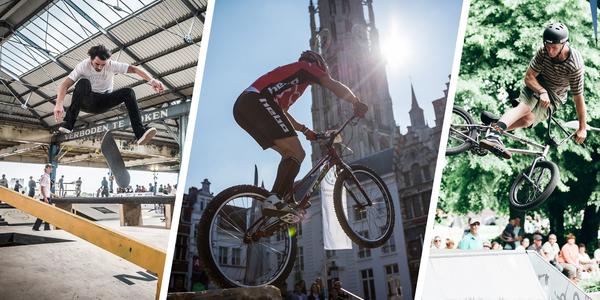 Urban weekend met skateboarden, bike trial en bmx