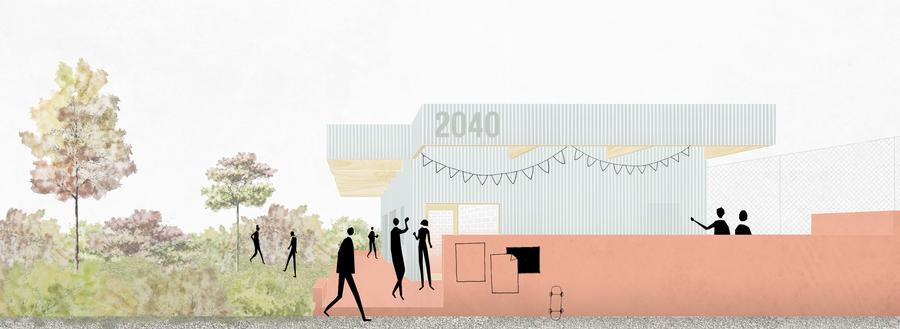 Simulatie van het exterieur van het nieuw jeugdhuis in Zandvliet
