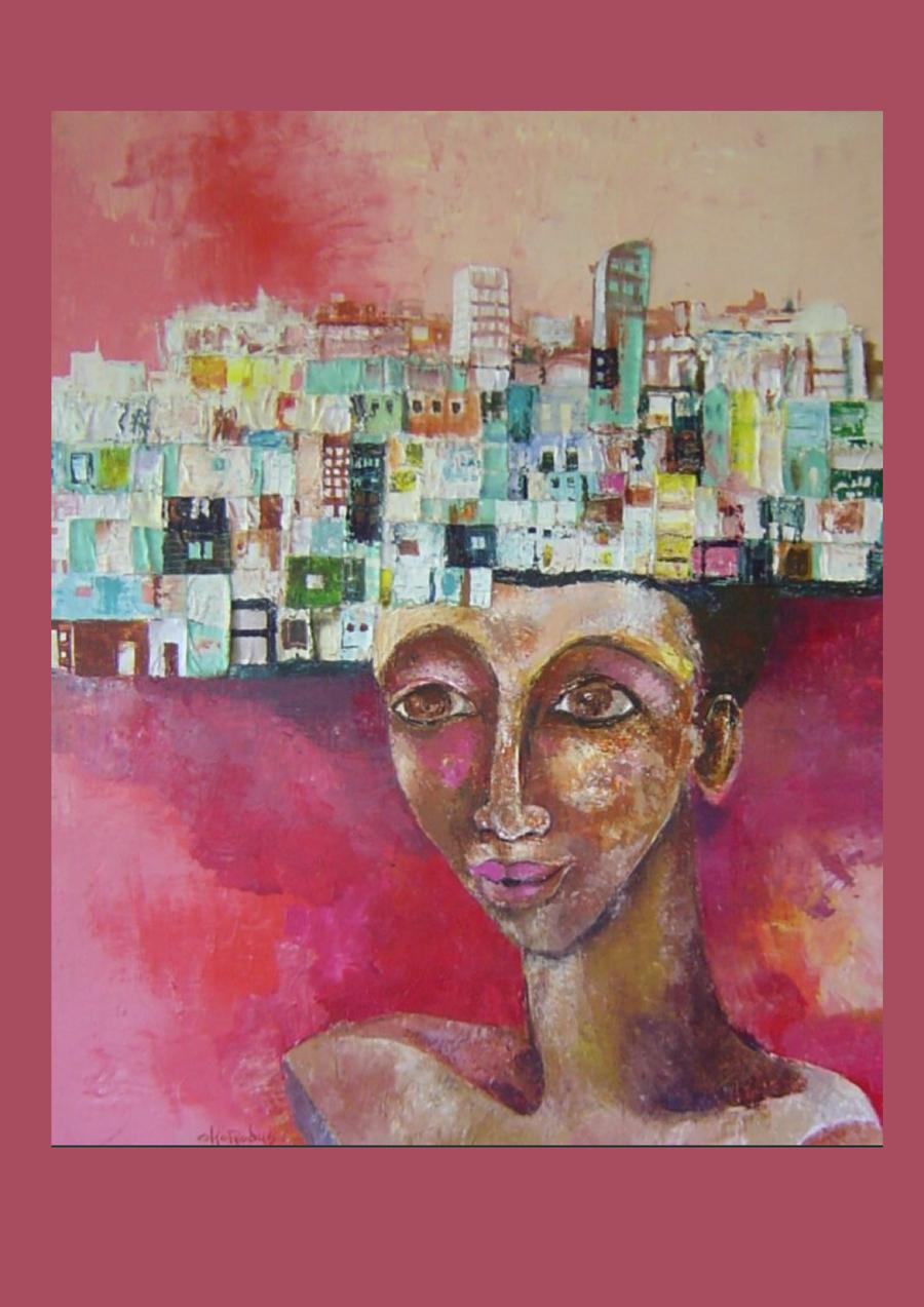 Een schilderij van een vrouwenhoofd met huizen daarop.