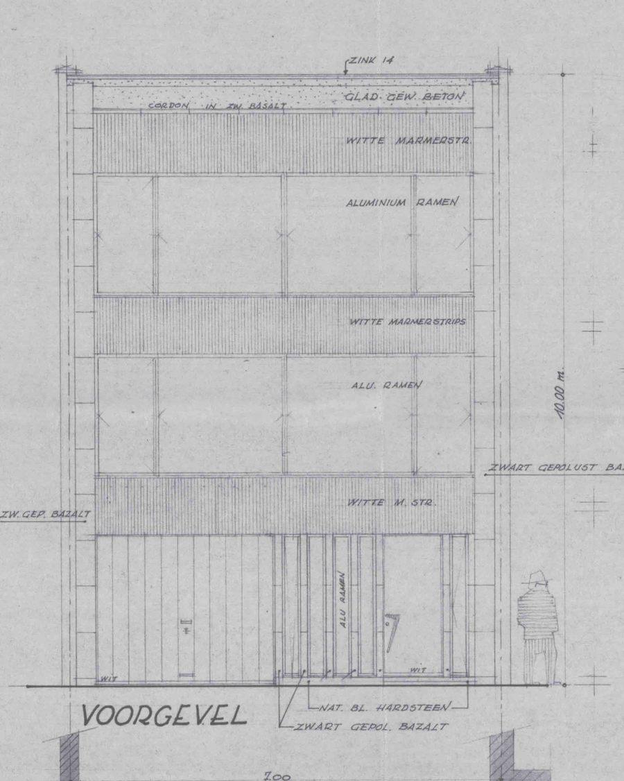 Plan van de voorgevel door de architect Robert Marevoet (Volhardingstraat 34)