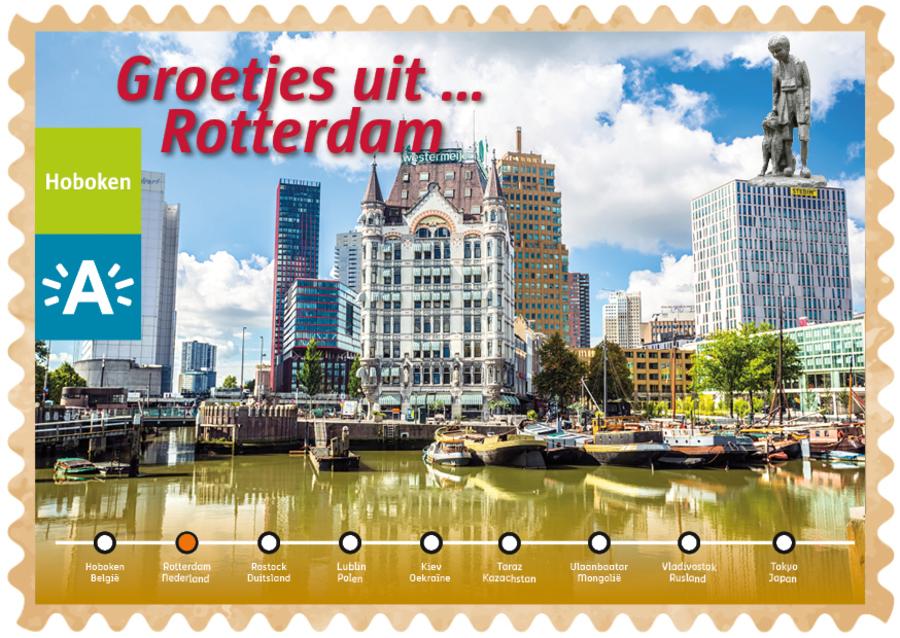 Groeten uit-kaart uit Rotterdam met Nello en Patrasche op een hoog gebouw