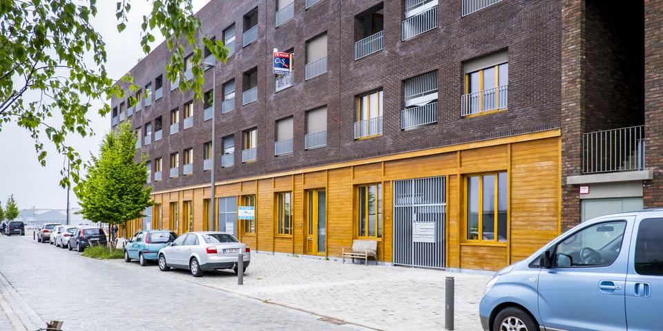 Energiezuinige woonblok met baksteen en hout, Cadixwijk Antwerpen