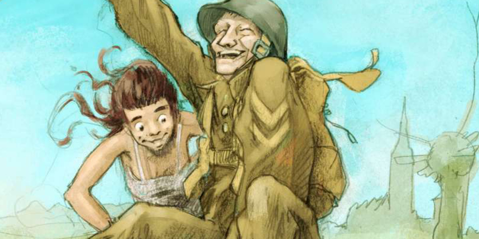 Vrouw die een blije soldaat naar het bal brengt