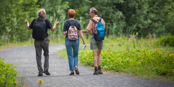 Foto van wandelende senioren in natuurgeboed