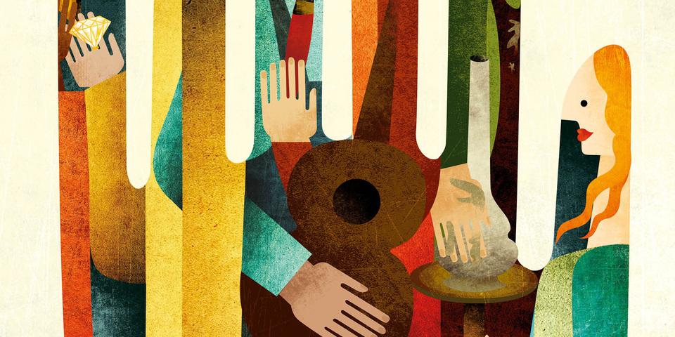 Uitsnede uit het campagnebeeld van Erfgoeddag. Een hand met 6 vingers die ambachten uitbeelden