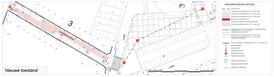 Plan van de Lammekensstraat en de fietsmarkeringen op het Laar