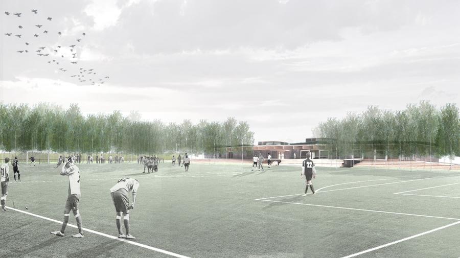 Zicht op de toekomstige sportvelden en sportinfrastructuur
