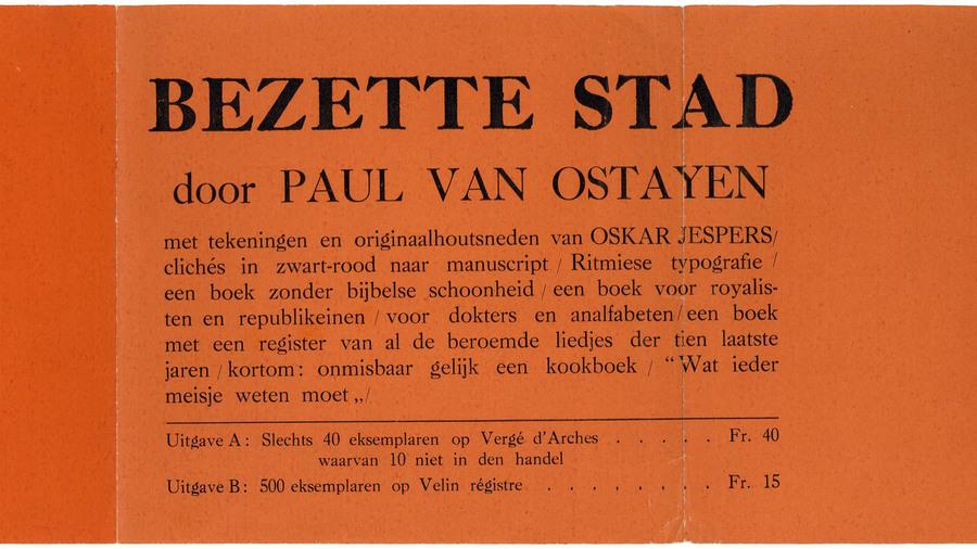 foto van buikbandje rond de dichtbundel 'Bezette Stad' van Paul van Ostaijen