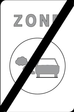 het verkeersbord dat het einde van de zone aanduidt