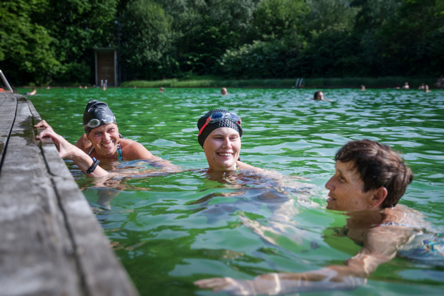 3 dames zwemmen in de zwemvijver van Boekenbergpark