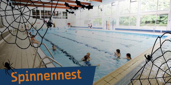 Overzichtsfoto van zwembad Plantin Moretus tijdelijk omgedoopt tot Spinnennest in functie van het Halloweenzwemmen