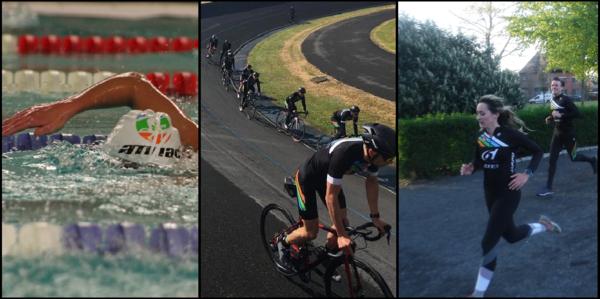 een zwemmer, fietsers op een wielerpiste en twee lopers van trialon club Atriac