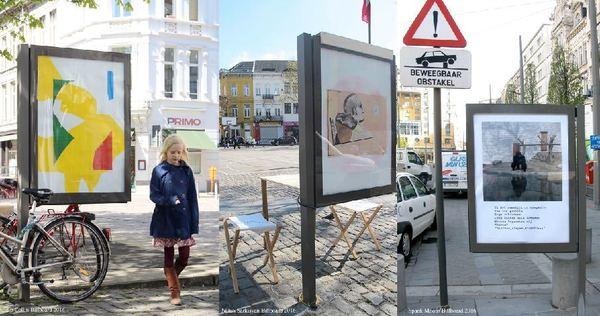 Collage van billboards met kunstwerken